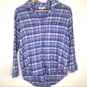 Madewell | plaid button down high low top small